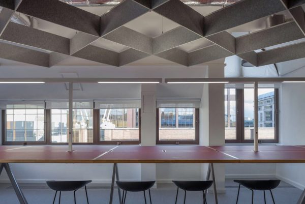 autex acoustic baffles in open plan office