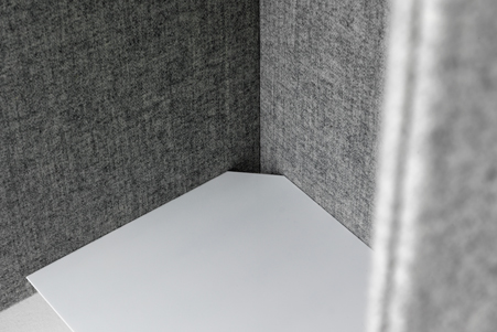 close-up of grey acoustic booth