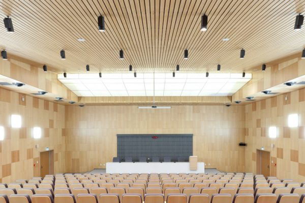 wood ceiling in large auditorium