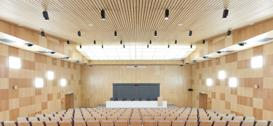 auditorium with wood panelling