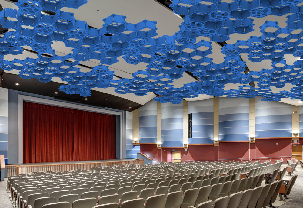 blue acoustic ceiling in office