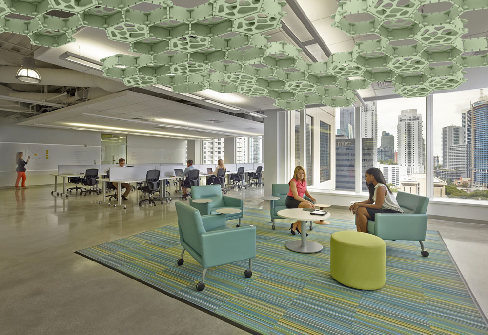 green acoustic ceiling in office