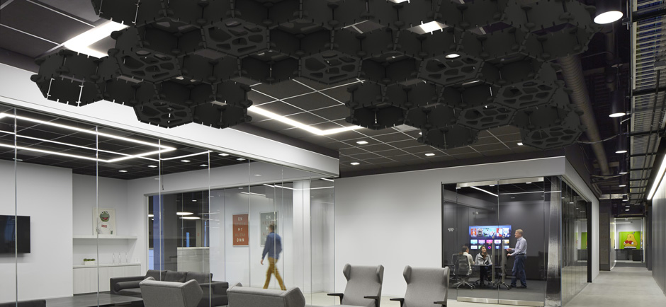black acoustic ceiling in office