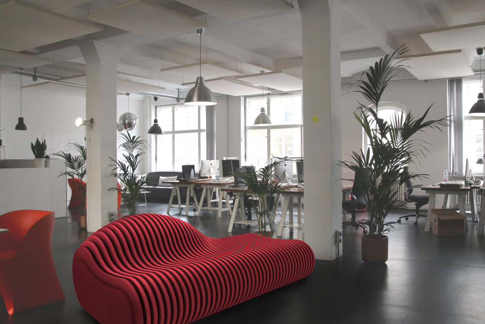 red acoustic seating